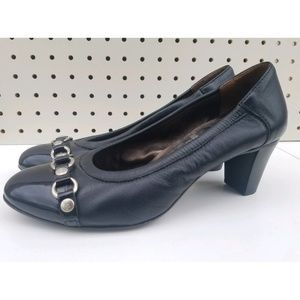 AGL black leather patent cap-toe low-heel pumps